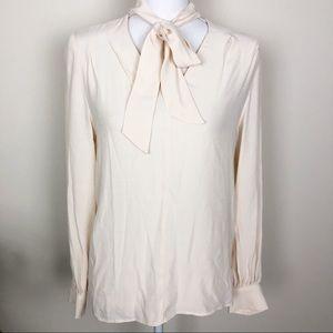 Topshop cream long sleeve tie neck top
